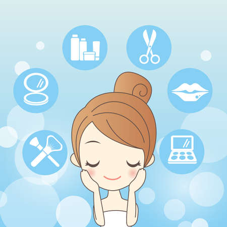 face make up: cartoon skin care woman is make up her face Illustration