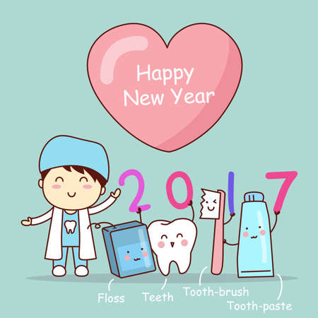 tooth brush: Happy new year and cute cartoon dentist with tooth brush and clean Illustration
