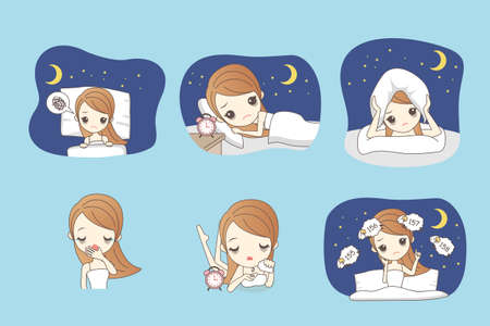 insomnia: cartoon woman is insomnia on the bed