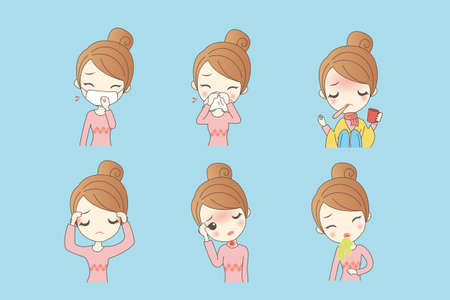 blowing nose: cartoon woman has fever caused by a variety of cold