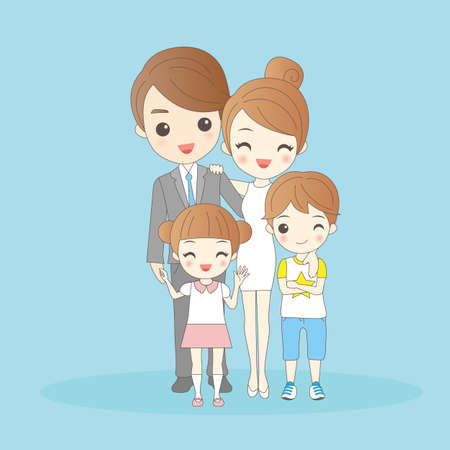 full length woman: cartoon family is  smling happily to you