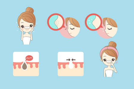 exfoliation: cartoon woman care her face with mask on the nose for remove blackheads, beauty