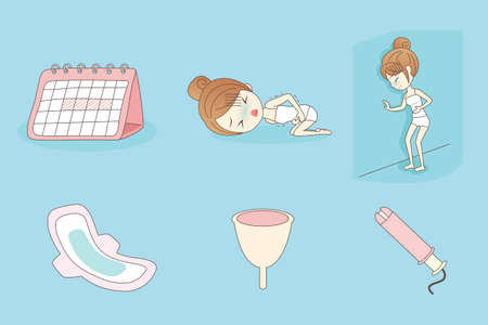 tampon: cartoon young woman is suffering menstrual pains Illustration