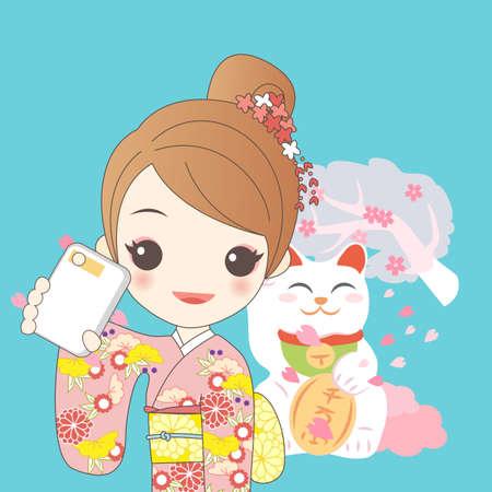 maneki: japanese girl is selfie and wear kimono with cherry blossom or sakura and Japanese lucky cat MANEKI NEKO