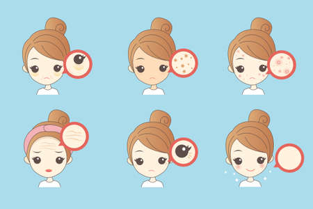 wrinkle: cartoon woman unhappy with her eyebags and wrinkle