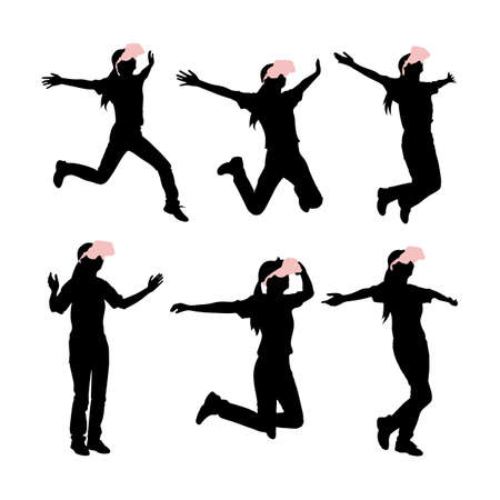fullbody: silhouette of woman take virtual reality headset run and jump with white background