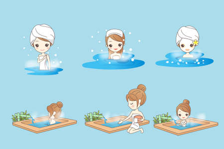 hot woman: cartoon woman with hot spring in the winter