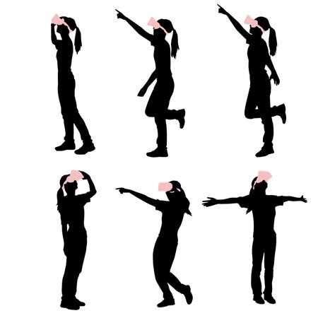 virtual reality simulator: silhouette of woman take virtual reality headset show something white background Illustration