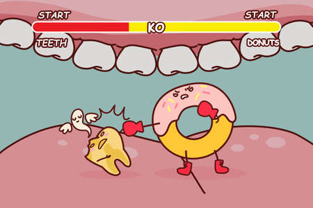 decayed: cartoon donuts is ko decayed tooth with yellow color, great for health dental care concept
