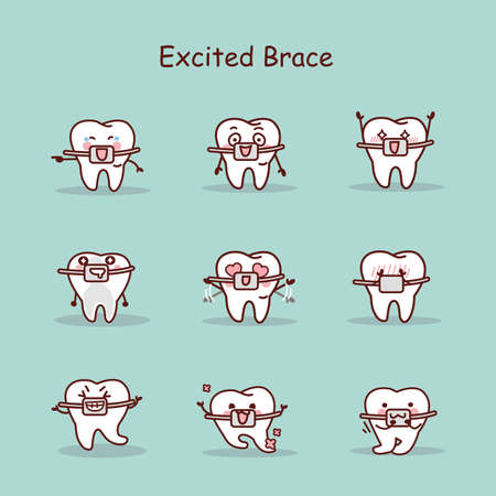 brace: excited cartoon tooth wear brace with various expressions Illustration