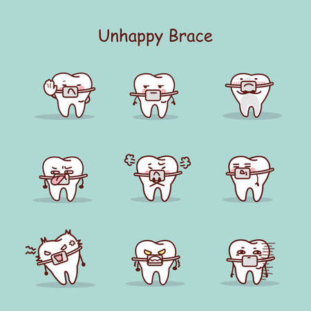 brace: Unhappy cartoon tooth wear brace with various expressions