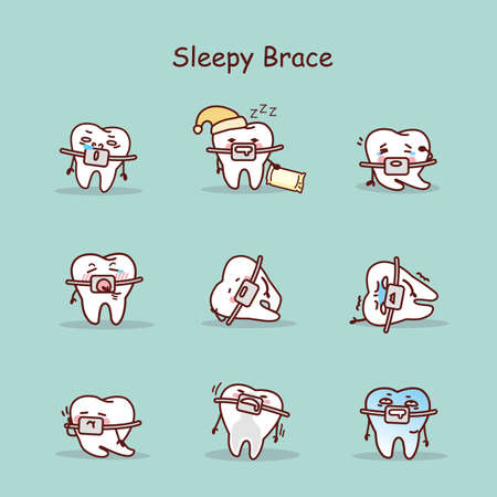 brace: sleepy cartoon tooth wear brace with various expressions Illustration