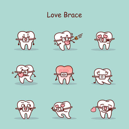 brace: Love cartoon tooth wear brace with various expressions Illustration