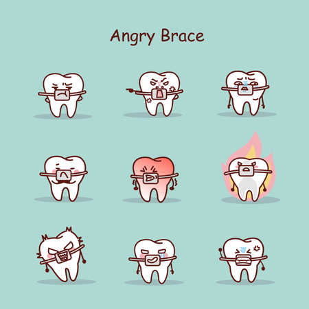 brace: angry cartoon tooth wear brace with various expressions