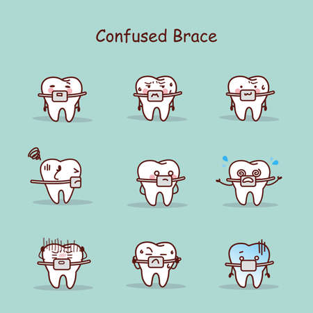 brace: confused cartoon tooth wear brace with various expressions