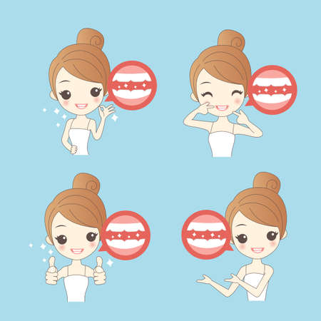 whitening: cartoon woamn thumb up with teeth whitening , great for healthy concept