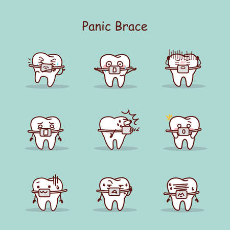 brace: panic cartoon tooth wear brace with various expressions Illustration
