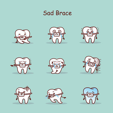 brace: sad cartoon tooth wear brace with various expressions