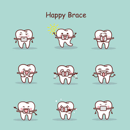 brace: happy cartoon tooth wear brace with various expressions