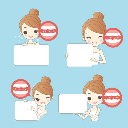 teeth whitening: cartoon woamn thumb up with teeth whitening , great for healthy concept