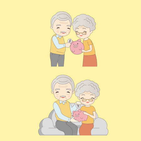 older woman smiling: cartoon old couple with pink piggy and smile to you