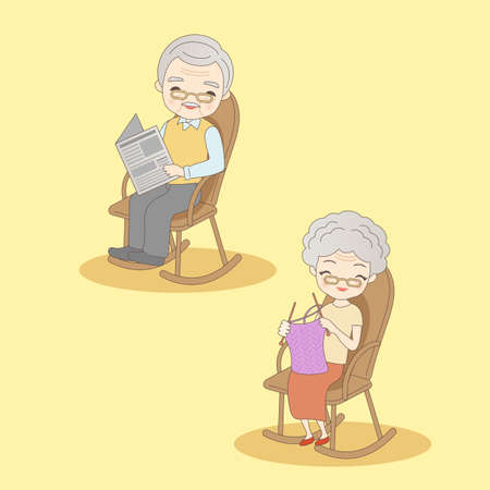 retire: cartoon old couple sit on chair and smile to you