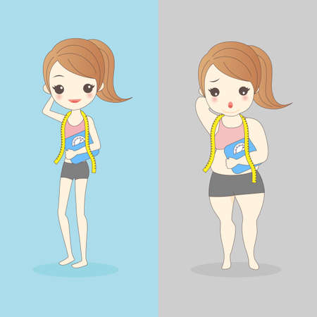 waist weight: cartoon slim and fat woman wear underwear and take waist ruler amount and body weight Illustration