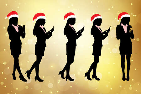 fullbody: Silhouettes of christmas business women Walking and speaking mobile phone