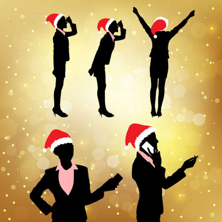 woman tablet pc: Silhouettes of christmas business woman set over golden background Illustration