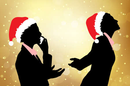 woman tablet pc: Silhouettes of christmas business woman speak phone over golden background