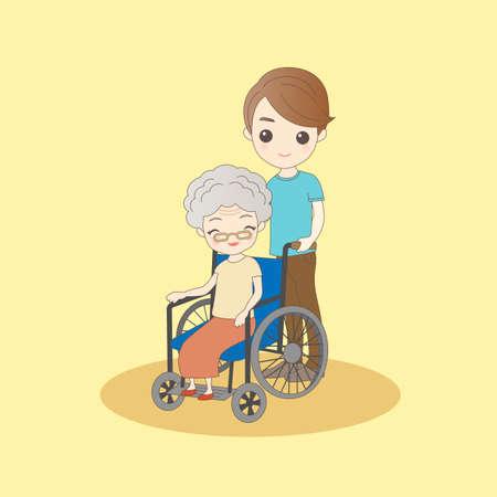 man pushing: cartoon man pushing old woman sit on wheelchair Illustration
