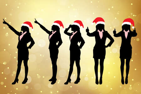 thumbup: Silhouettes of christmas business women standing with different hand gesture