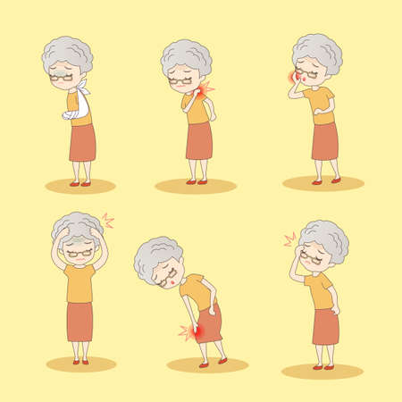 retire: cartoon old woman has different problem , great for your design