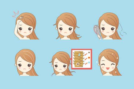 hair problem: cartoon girl hair problem, Healthy Lifestyle Concept