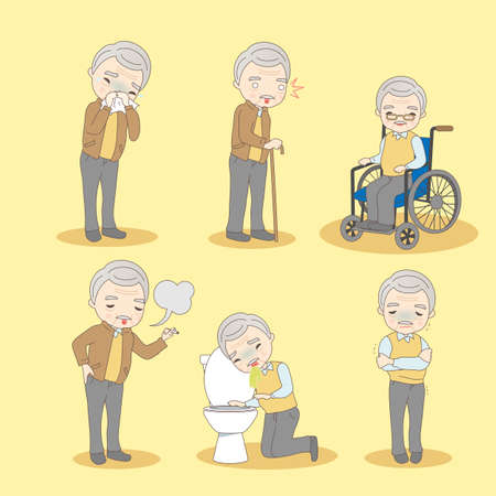retire: cartoon old man has different problem , great for your design Illustration