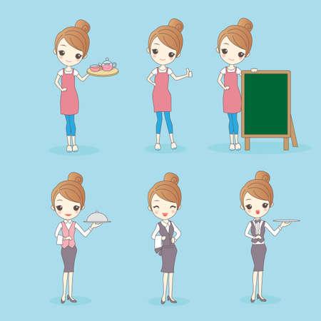 fullbody: Cartoon beautiful young woman is a waitress