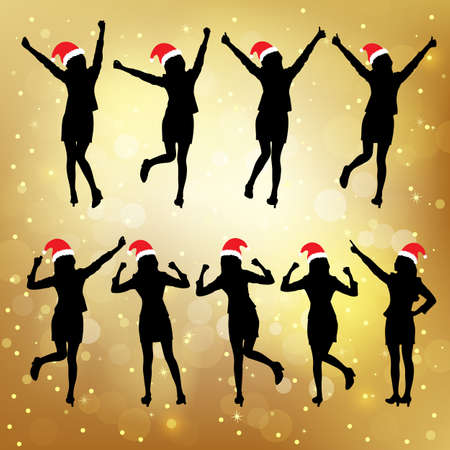 excited business woman: Silhouettes of christmas excited business woman with white background