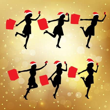 paperbag: Silhouettes of christmas shopping women hoding their paperbag and credit card Illustration