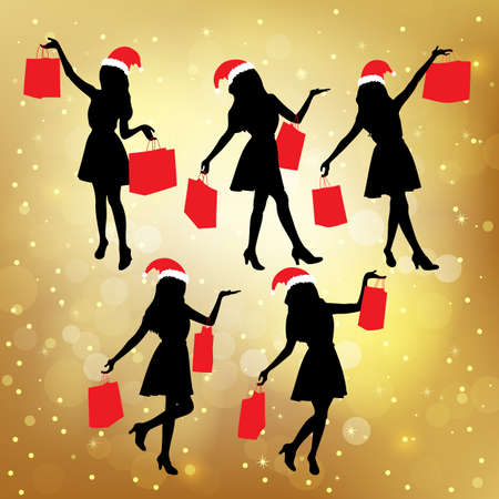 paperbag: Silhouettes of christmas shopping women hoding their paperbag Illustration