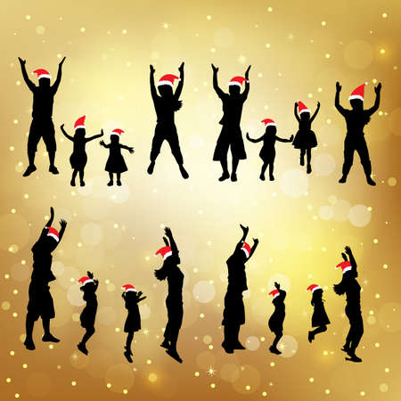 father of the bride: silhouette of christmas family jump up with gold background, great for your design