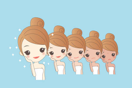 whitening: cartoon girls face whitening, great for your design Illustration