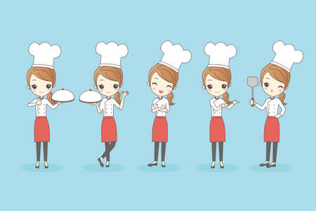 garnishing: Cartoon woman chef, great for your design