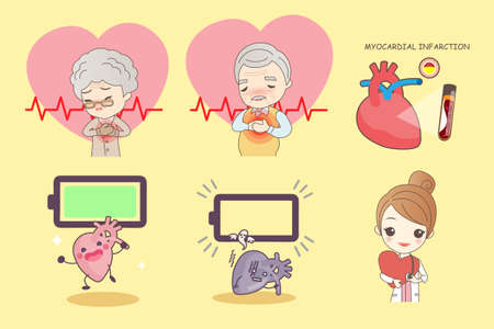 heart disease: cartoon old people with heart disease,great for your design