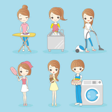 housework: cartoon housewife do housework, great for your design Illustration