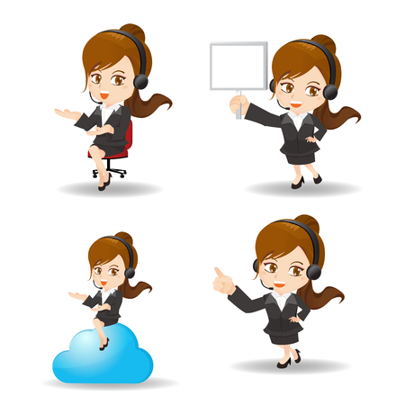 introduce: cartoon set of Business woman customer service worker, call center smile operator with phone headset.
