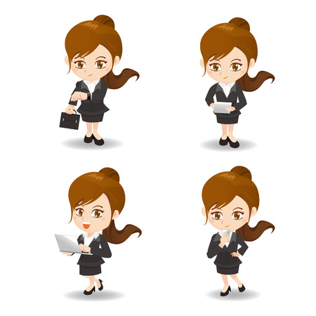 cartoon set of Business woman use technology product, Smart watch wearable device, digital tablet pc, laptop, smart phone