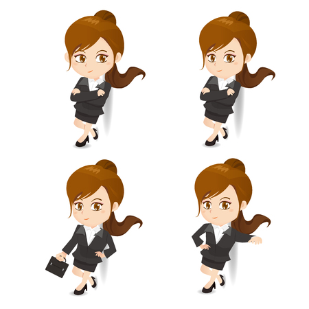fullbody: cartoon illustration set of Success Business woman lean something