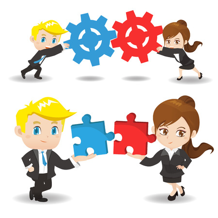 Teamwork - business man hold puzzle and gear