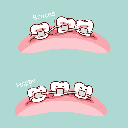 enamel: cute cartoon tooth braces, great for health dental care concept