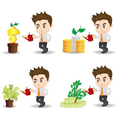 arboles caricatura: cartoon illustration set of Business man with financial money tree, business concept Vectores